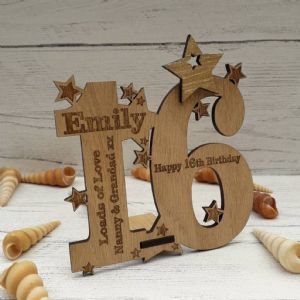 Personalised Sixteenth 16th Birthday Card Oak Wooden Keepsake Gift
